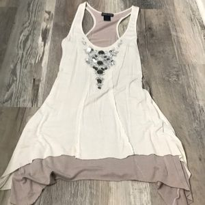 White and Tan Tank with Jewels